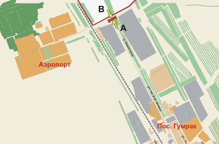 Схема расположения Щиты 3х6 Аэропорт пос., из города, 50 м до поворота на мост через ж/д сторона B.