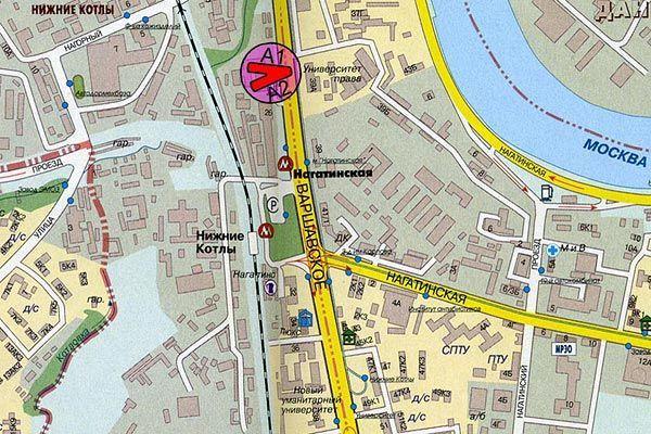 Схема расположения Щиты 5х12 Варшавское шоссе 26 сторона A.