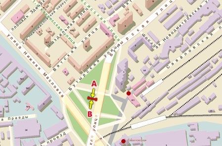 Схема расположения Щиты 3х6 Бутырская ул., д.1 (пересечение с Савеловской эстакадой, гусь) сторона B.