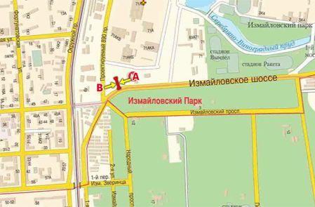 """Схема расположения Щиты 3х6 Измайловское ш., д.69 н-в, М  """"Измайловский парк """", призматрон, гостиничный комплекс..."""