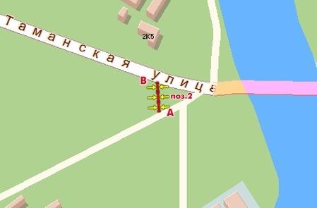 Схема расположения Щиты 3х6 Серебряный Бор, Таманская ул., слева при съезде с моста, А в Серебрянный Бор...