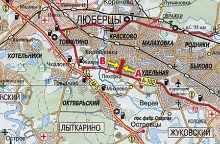 Схема расположения Щиты 3х6 Москва - Жуковский, аэропорт Быково, г. Раменское, 29900 м (14600 м от МКАД)...