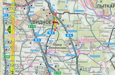 Схема расположения Щиты 3х6 Москва-Аэропорт Домодедово, 28190 м, 6190 м от МКАД, слева, н/у сторона A.
